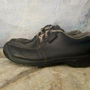 Womens Sz 7.5 KEEN Reisen Black Leather Shoes